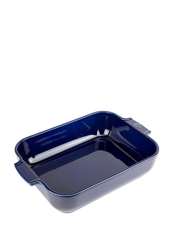 Plat four céramique rectangle bleu profond 32cm