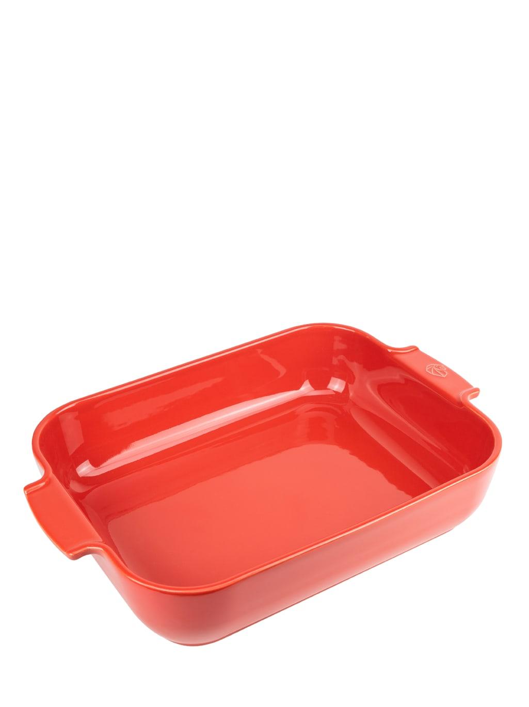 Plat four céramique rectangle rouge 40cm