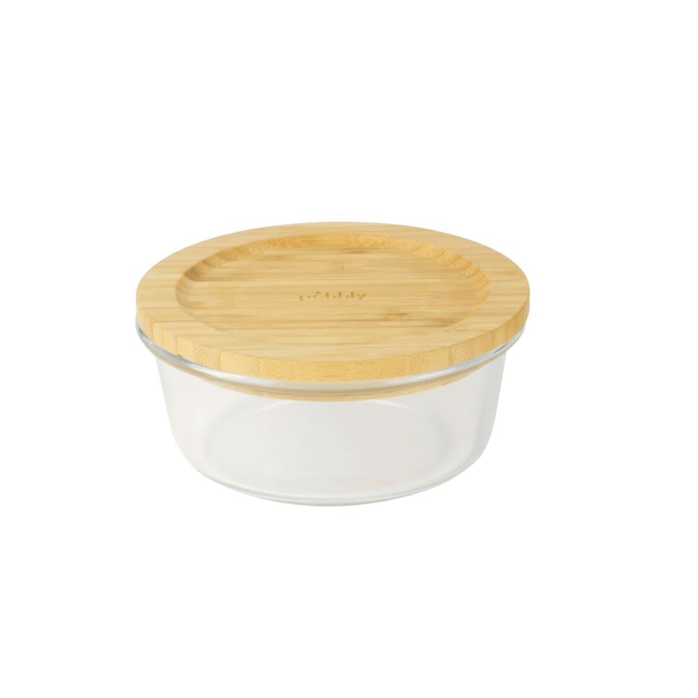 Boîte ronde en verre avec couvercle en bambou 14,5x6cm