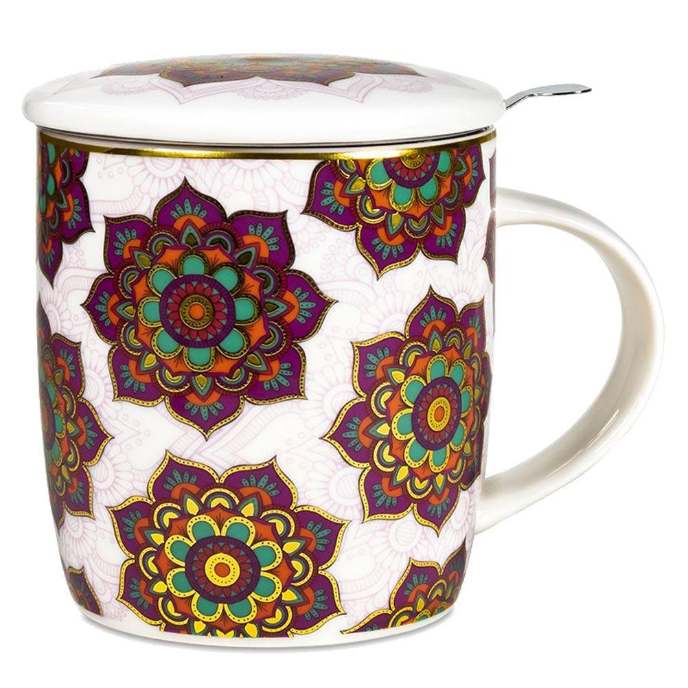 Mug mandala violet avec infuseur