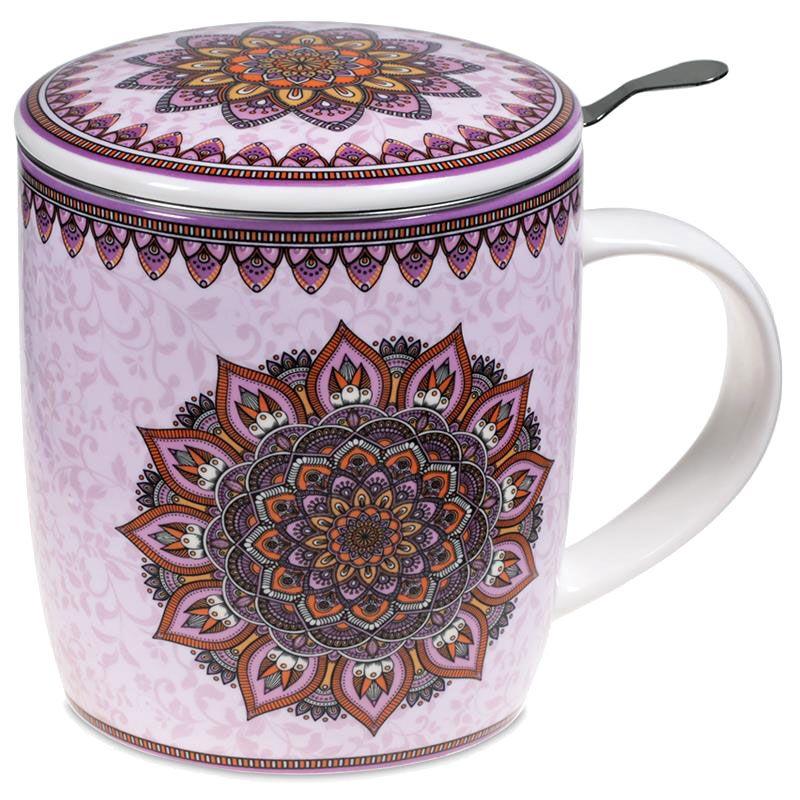 Mug mandala parme avec infuseur