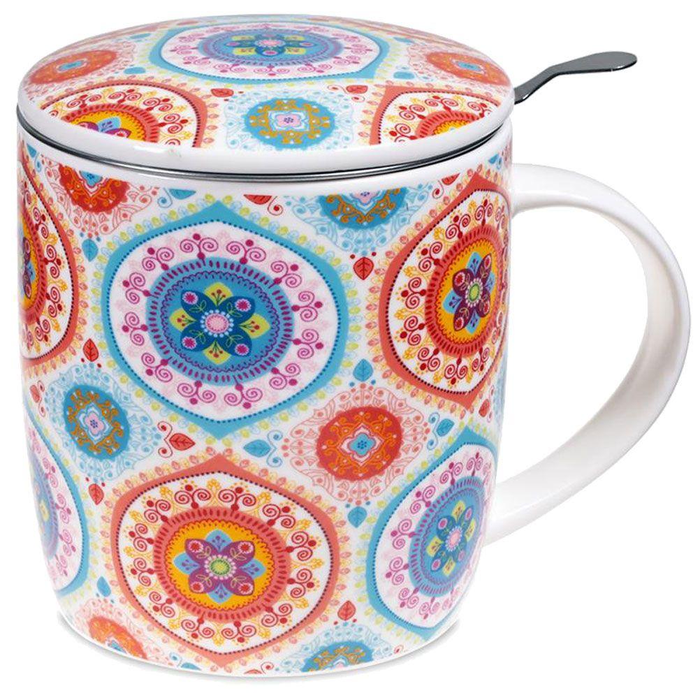 Mug mandala en porcelaine avec infuseur