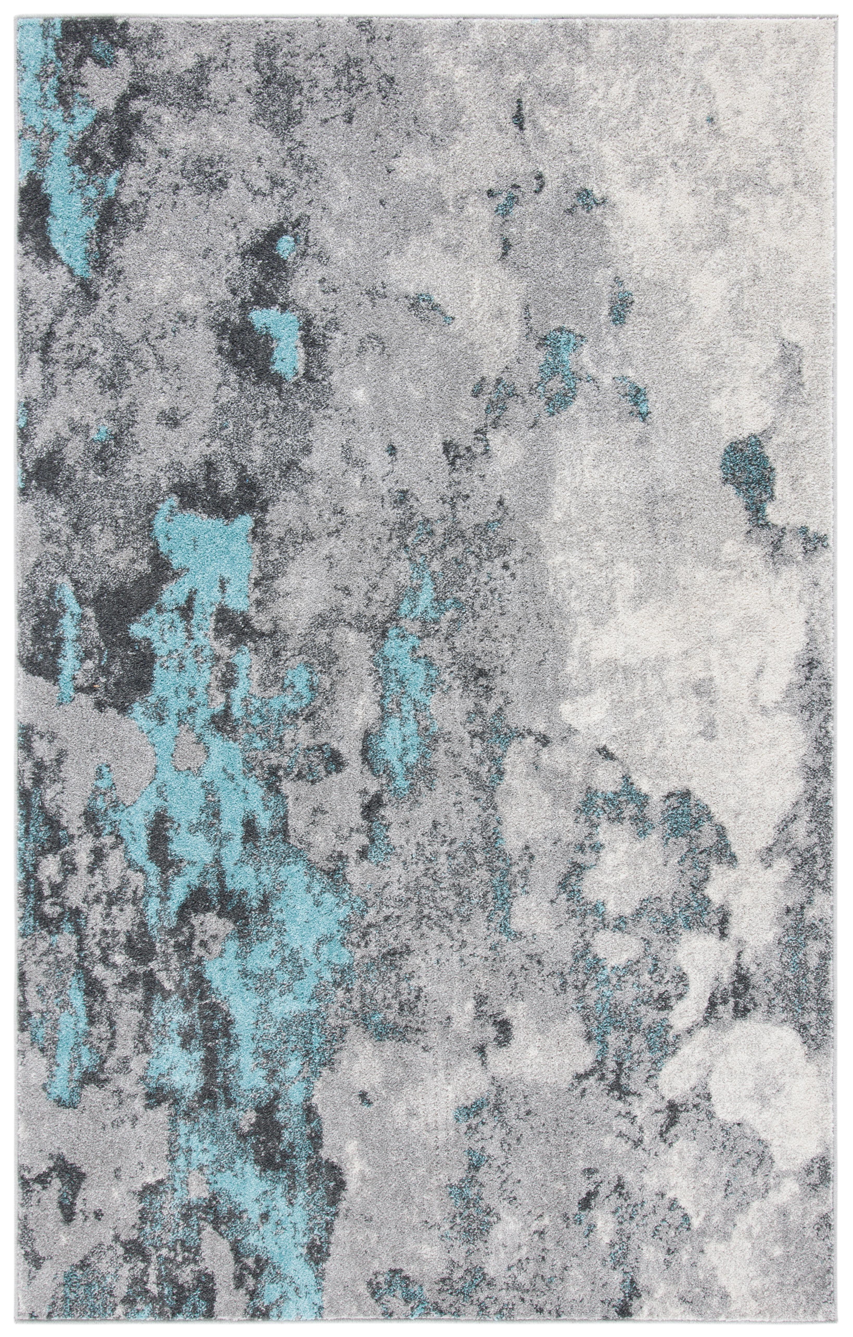 Tapis de salon contemporain turquoise et gris 182x274