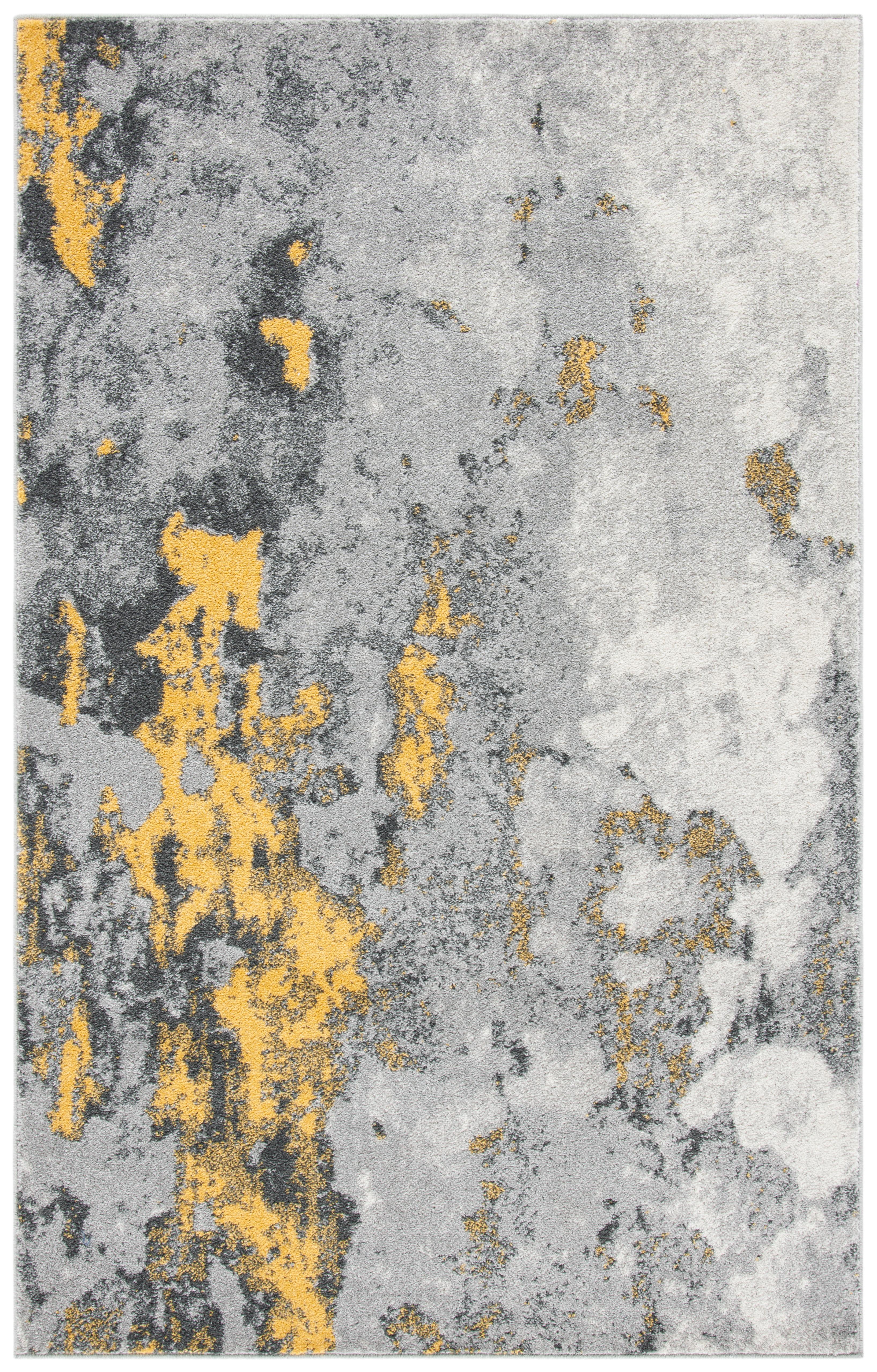 Tapis de salon contemporain gris et jaune 182x274