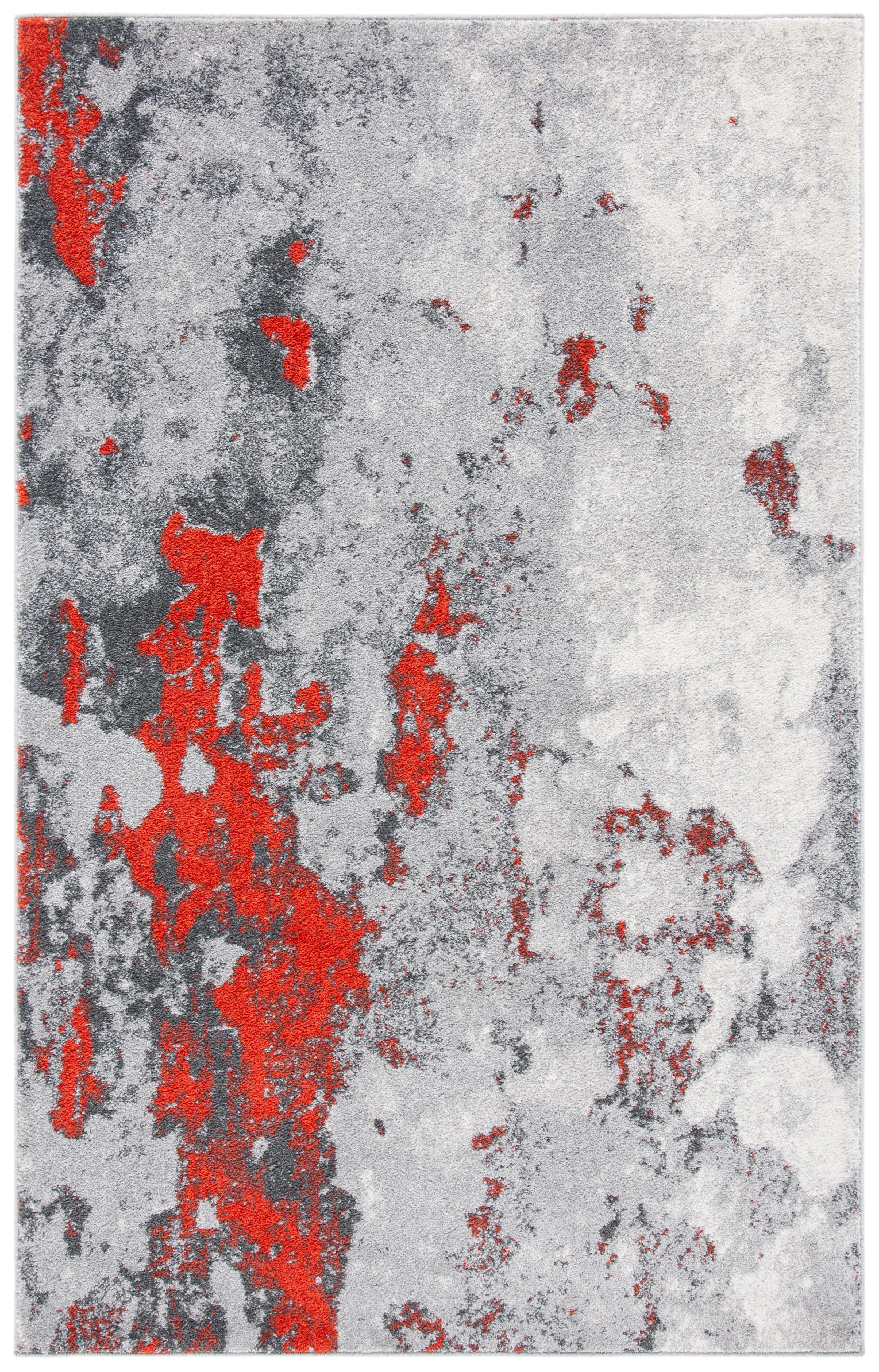 Tapis de salon contemporain orange et gris 91x152