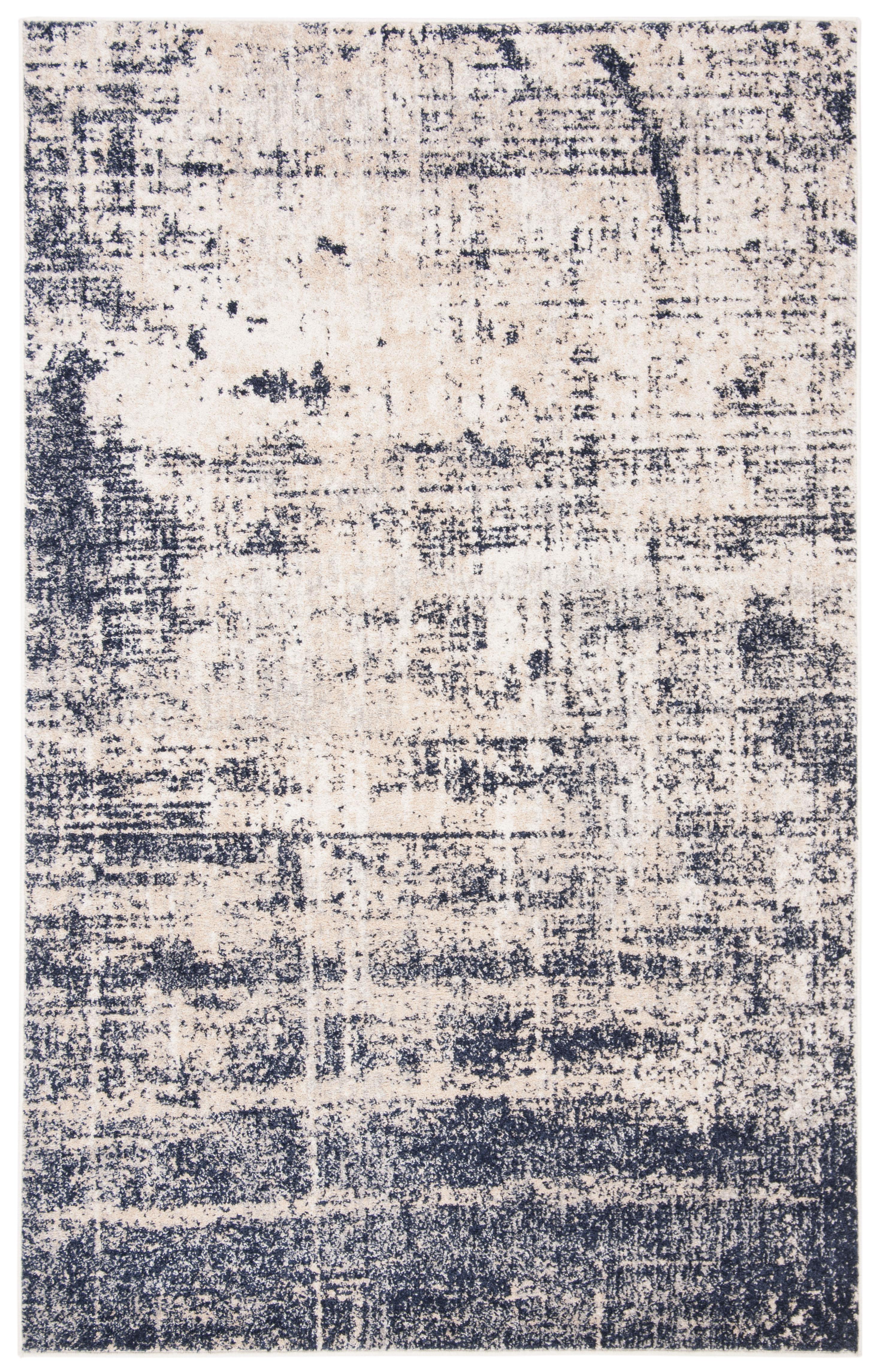 Tapis de salon contemporain or et bleu marine 182x274