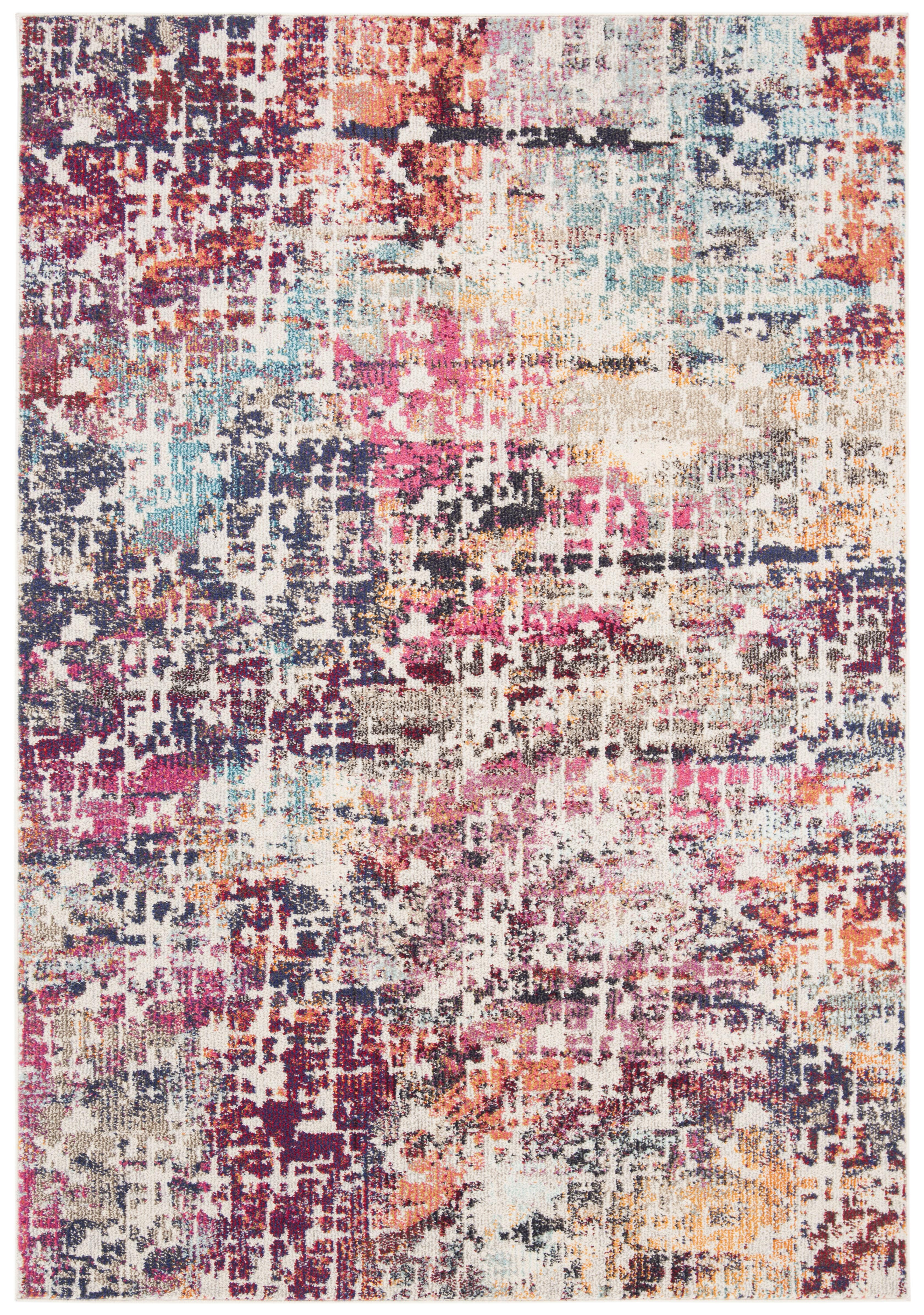 Tapis de salon contemporain rouge et bleu clair 160x230