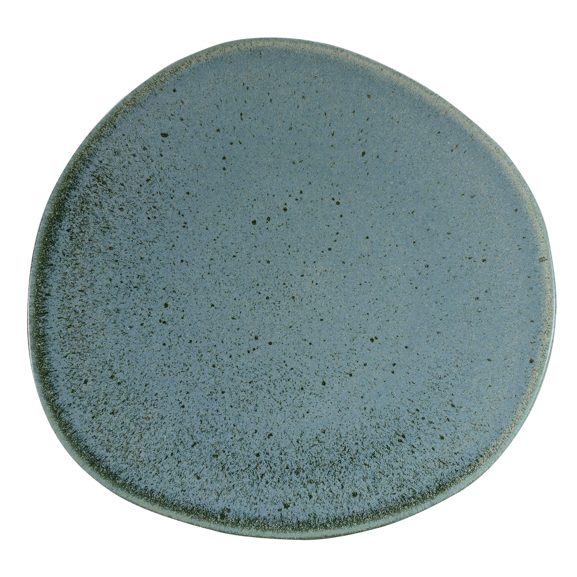 Assiette plate en grès réactif bleu 27 cm - Lot de 6