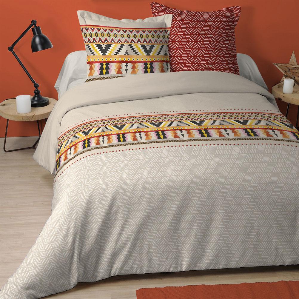 Parure de lit en coton beige 240x260cm