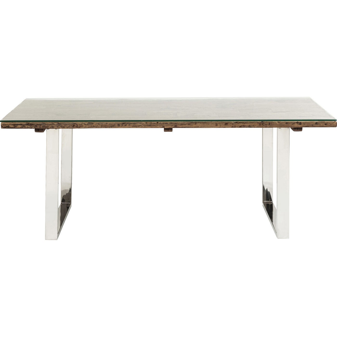 Table à manger 8/10 personnes en bois, verre et acier L200