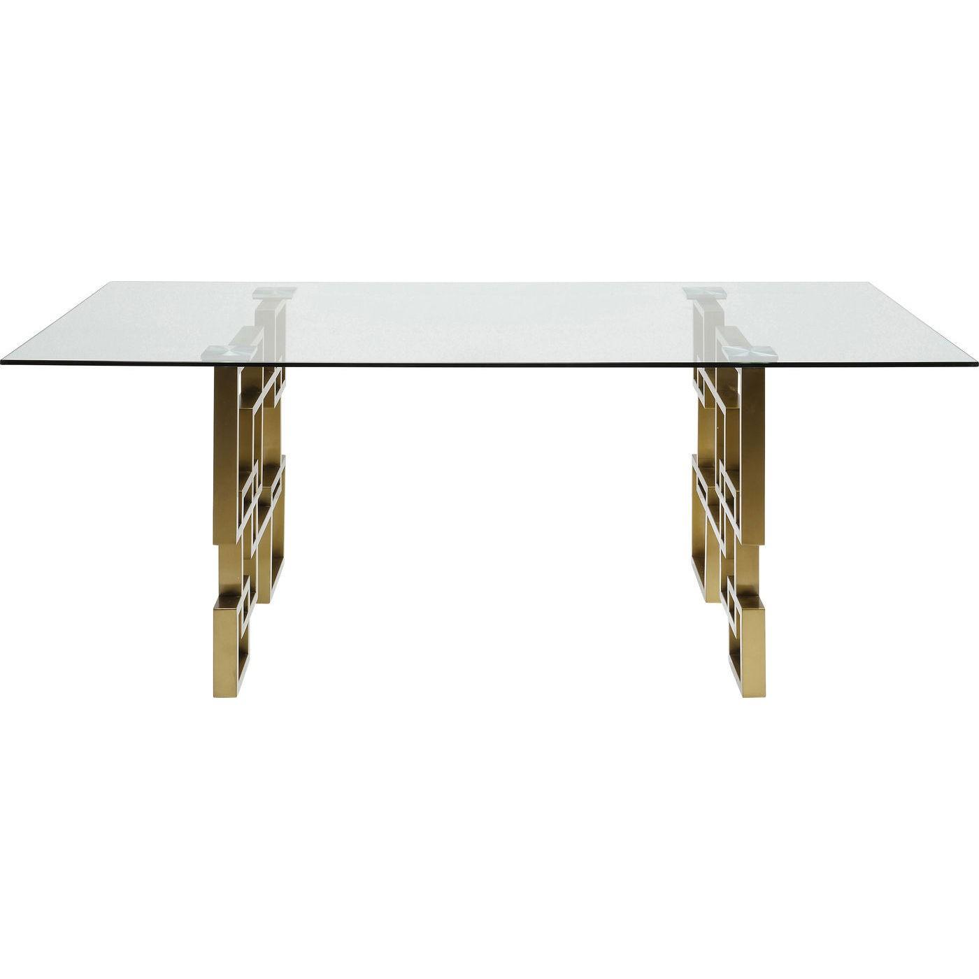 maison du monde Table à manger 8/10 personnes en verre et acier doré L200