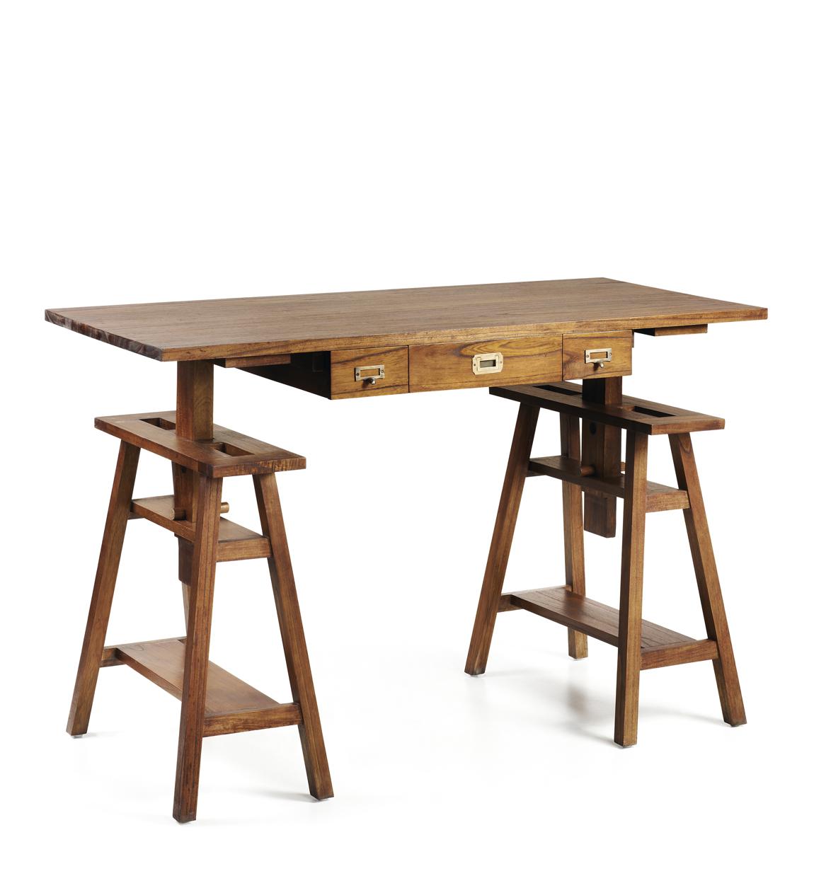 Bureau réglable en bois marron L 152 cm