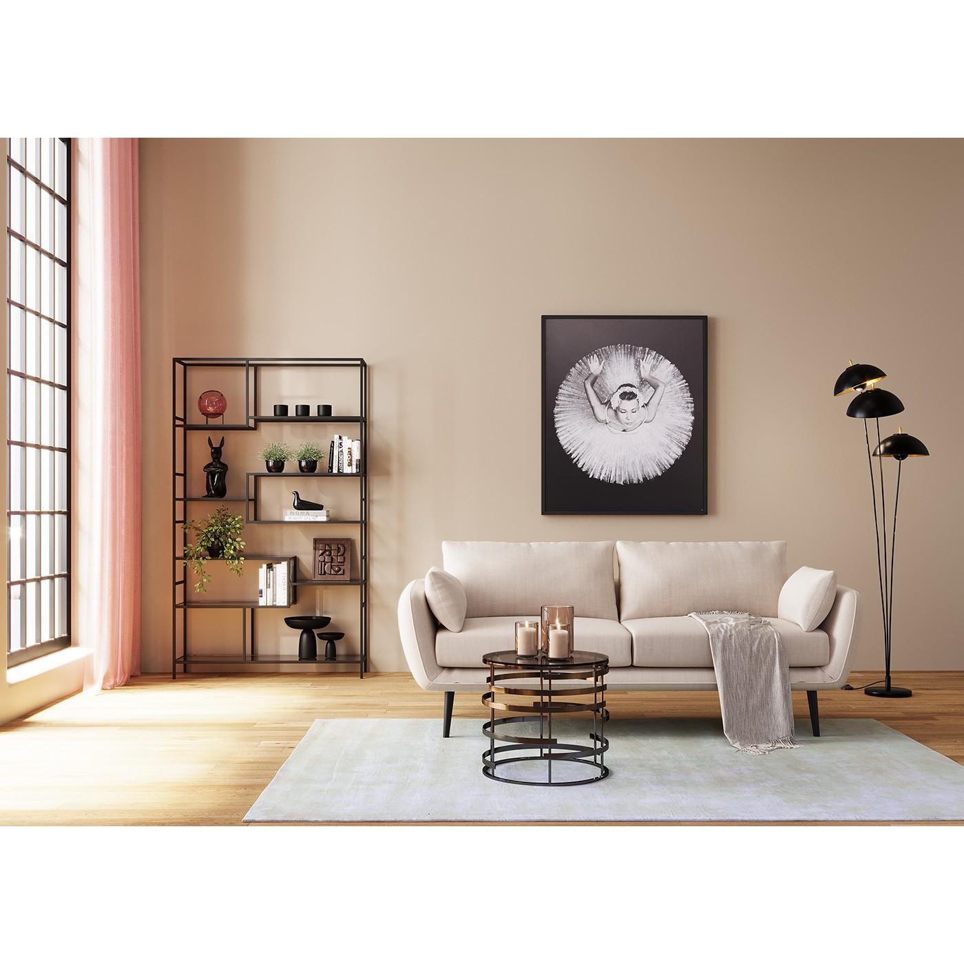 Table d'appoint en acier noir et verre
