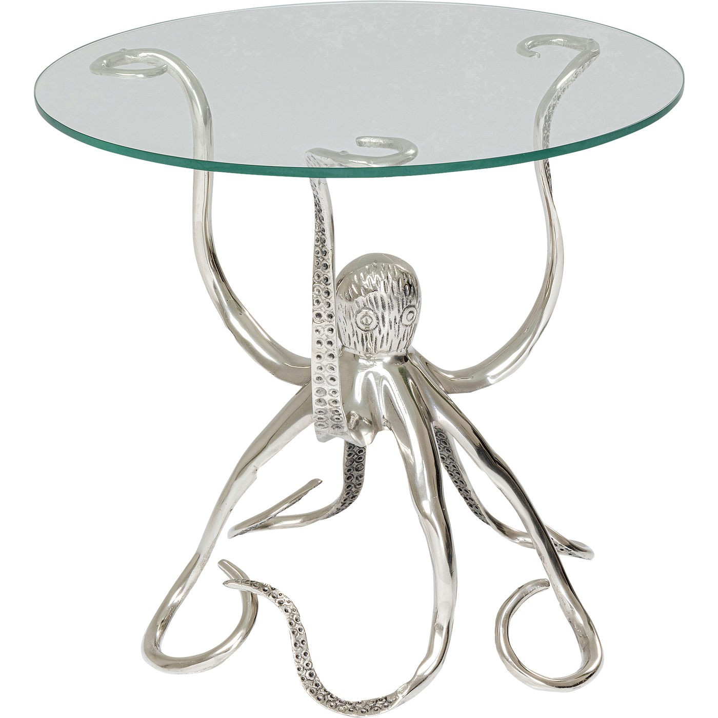 Table d'appoint pieuvre en verre et aluminium D48