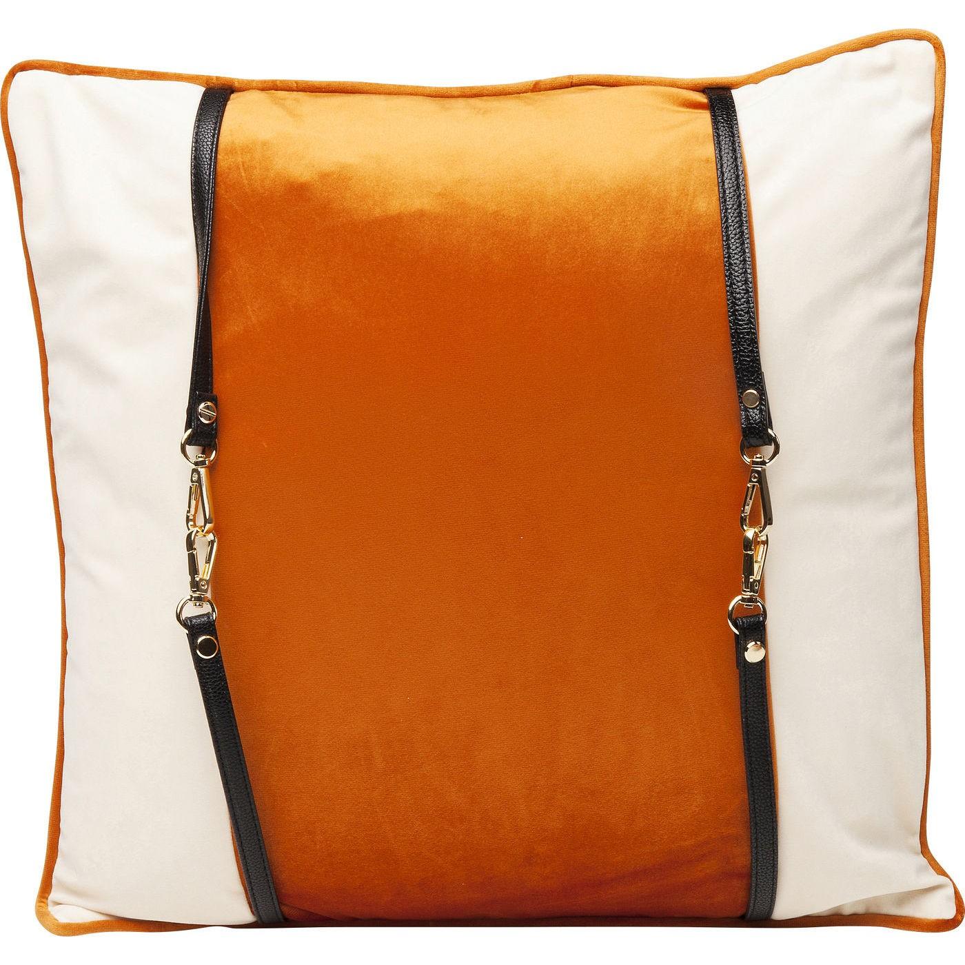 Coussin blanc et orange à sangles 45x45