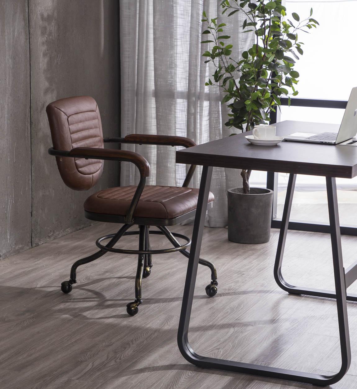 Fauteuil de bureau pivotant en noir et cuir marron