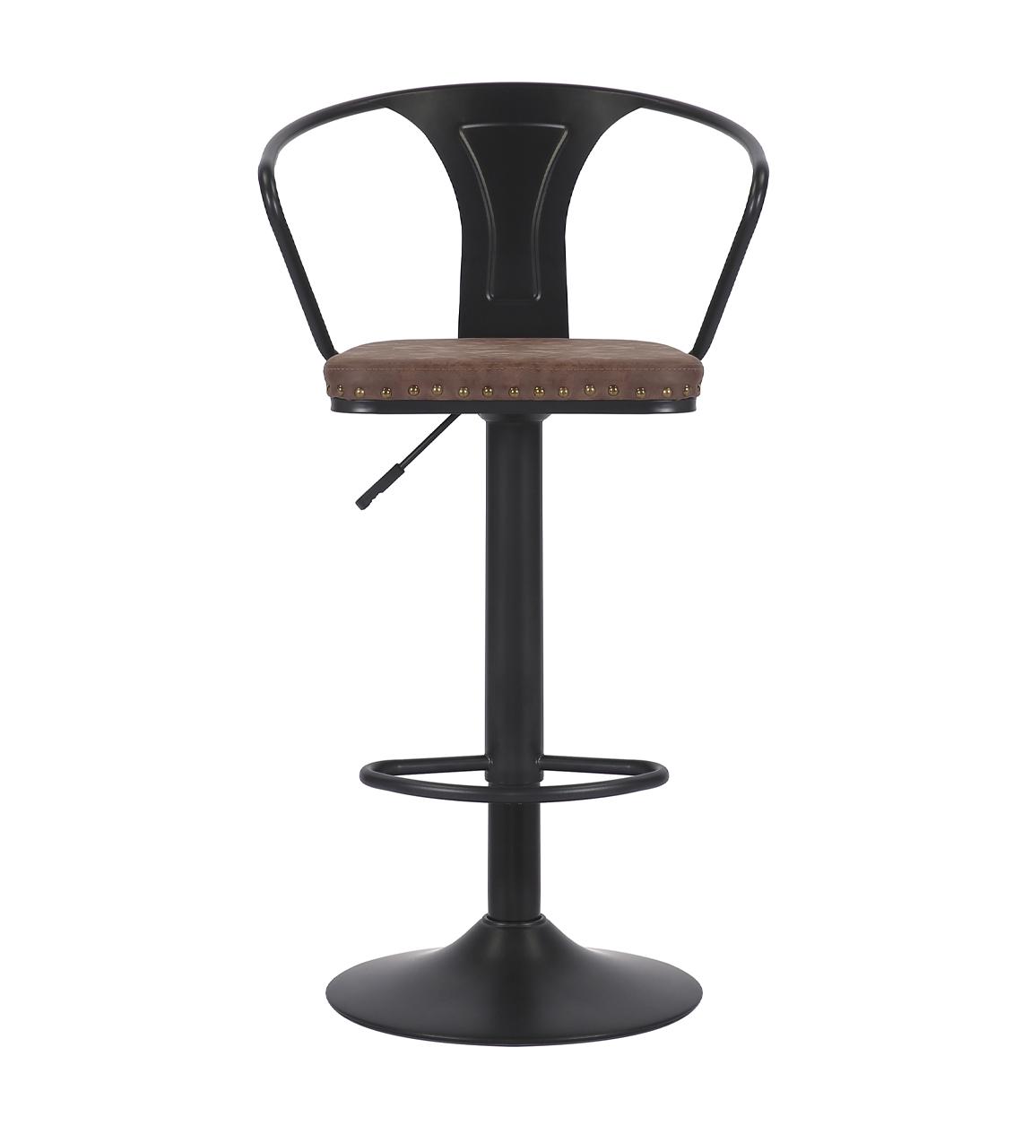 Chaise de bar pivotante en fer noir et cuir marron