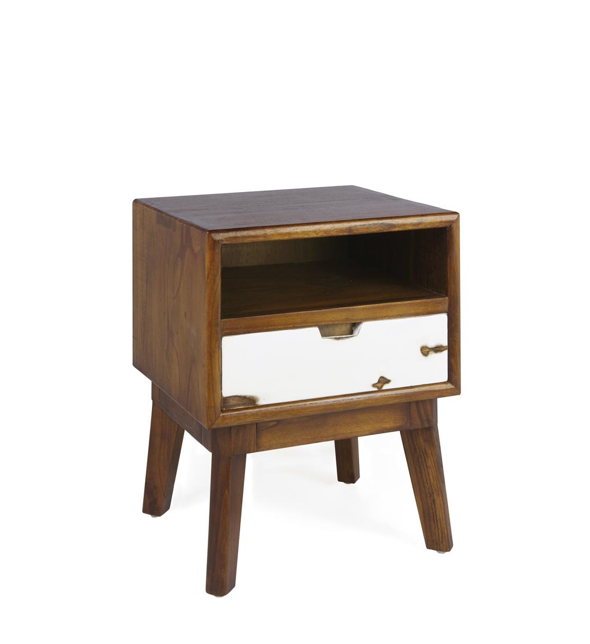 Table de chevet en bois marron et tiroir blanc L 45 cm