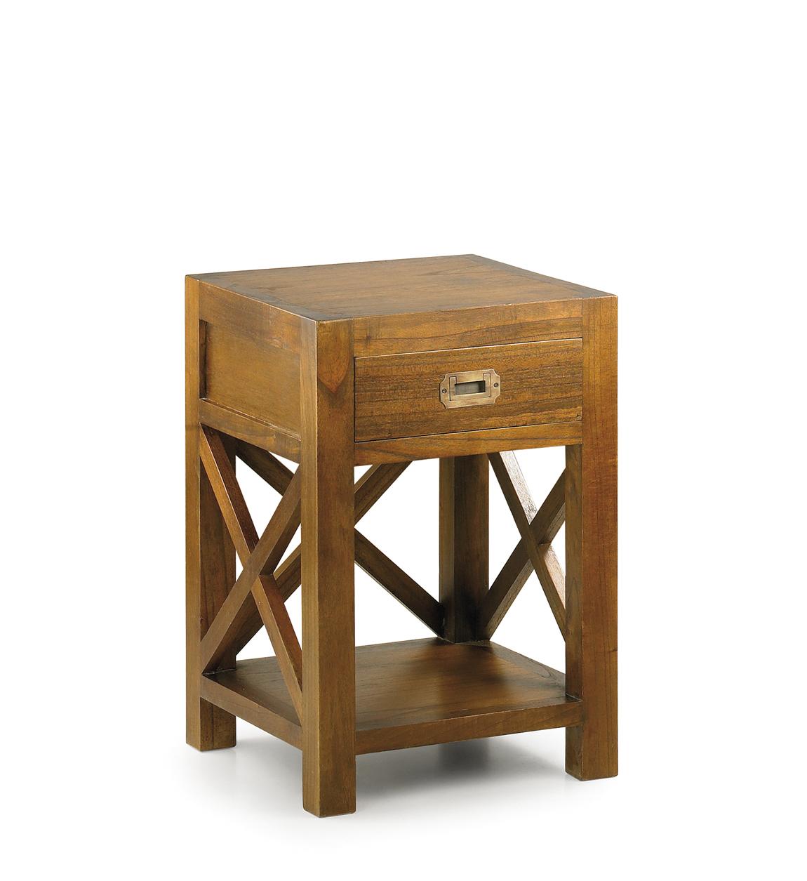 Table de chevet en bois marron L 40 cm