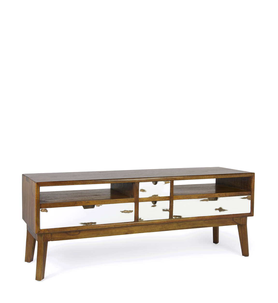 Meuble TV en bois marron et tiroirs blancs