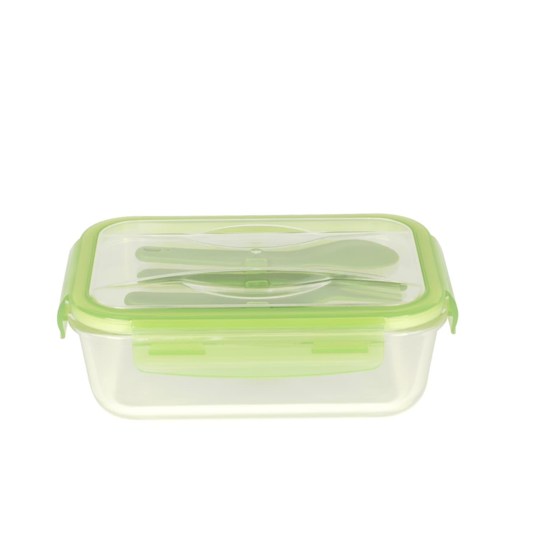Lunch box nomade en verre avec couverts en plastique 1,2L