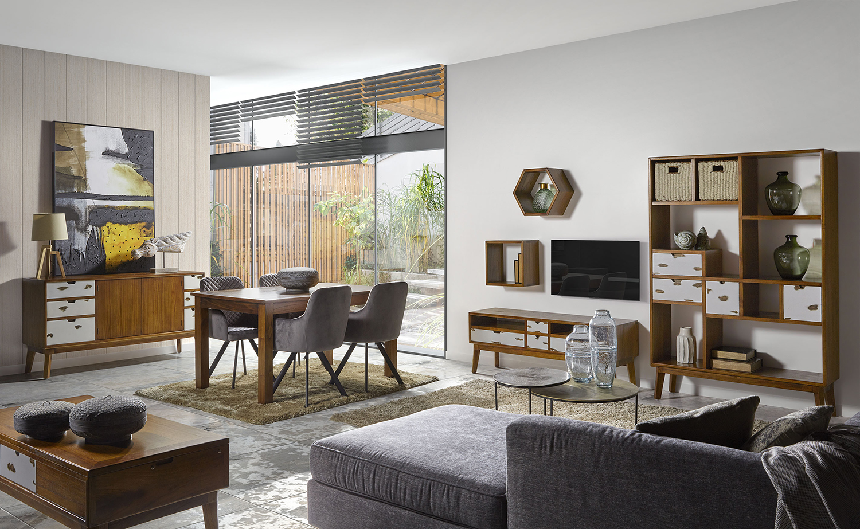 Table basse en bois marron et tiroirs blancs 2/4 personnes L 115 cm