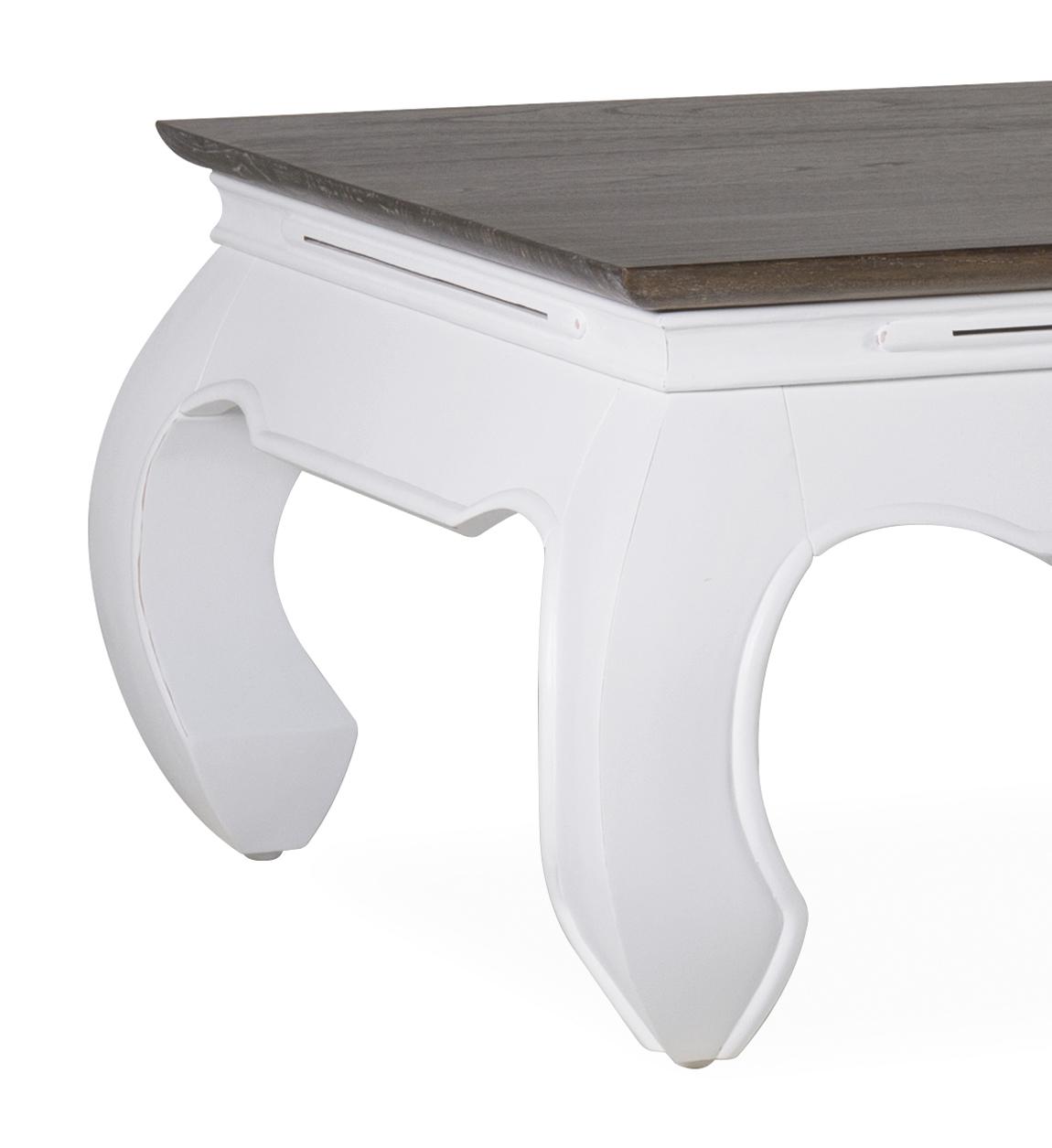 Table basse en bois marron et blanc  L 60 cm