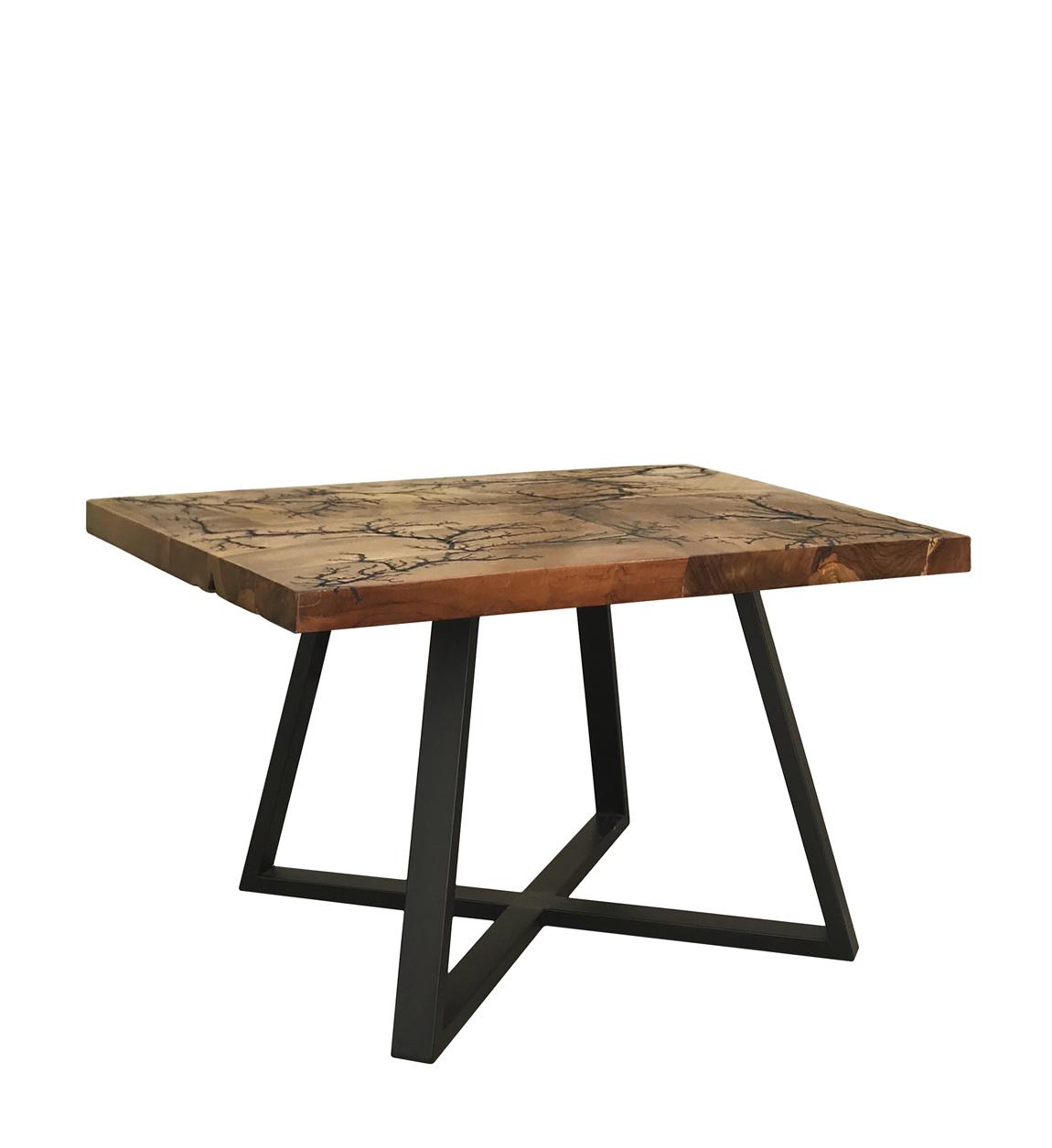 Table basse en bois marron et fer noir L 70 cm