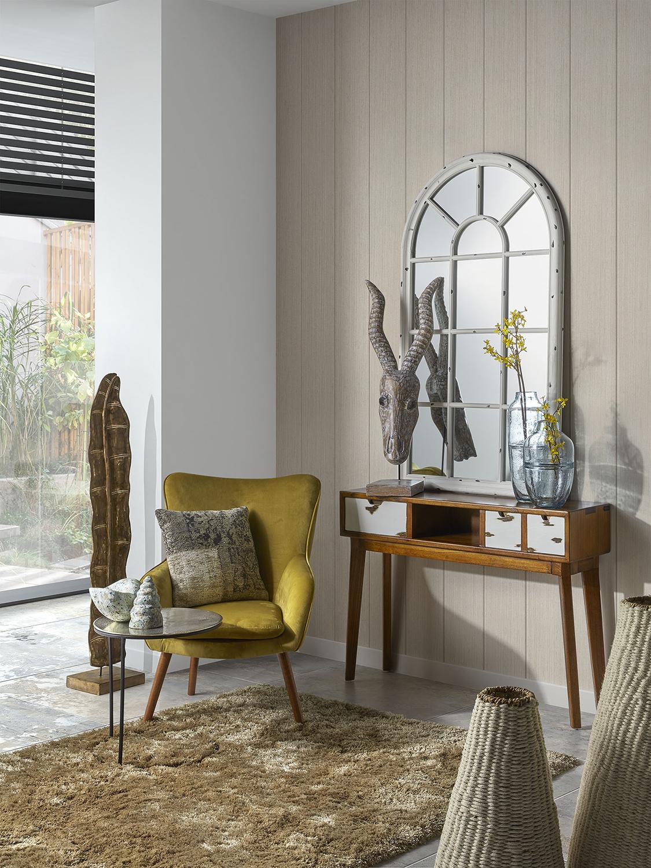 Console en bois marron et tiroirs blancs L 110 cm
