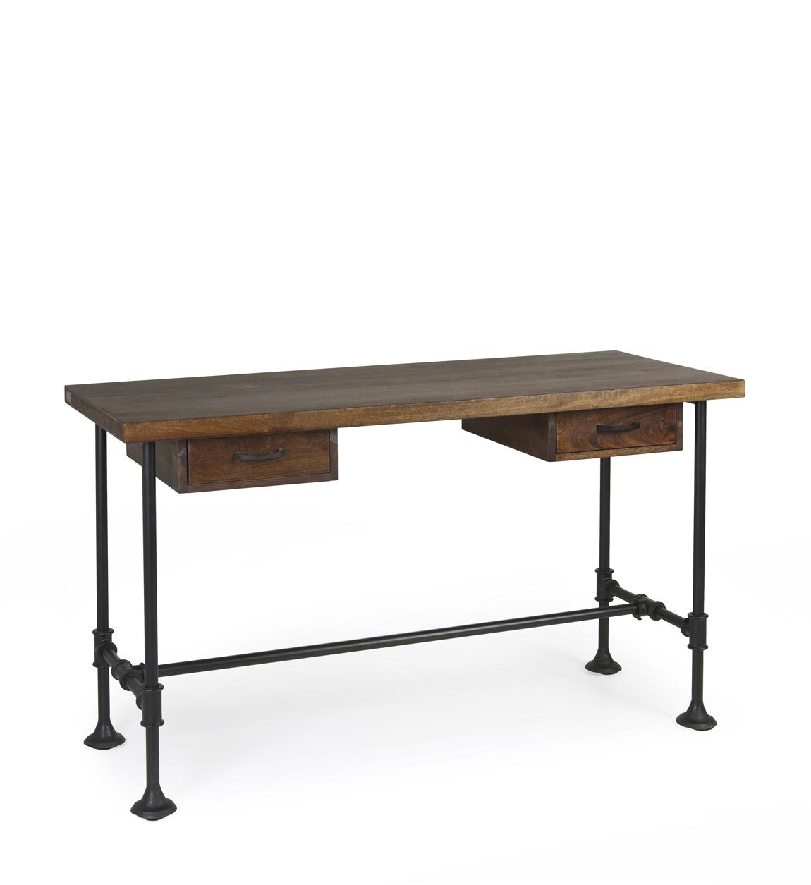 Bureau en bois marron et fer noir L 135 cm