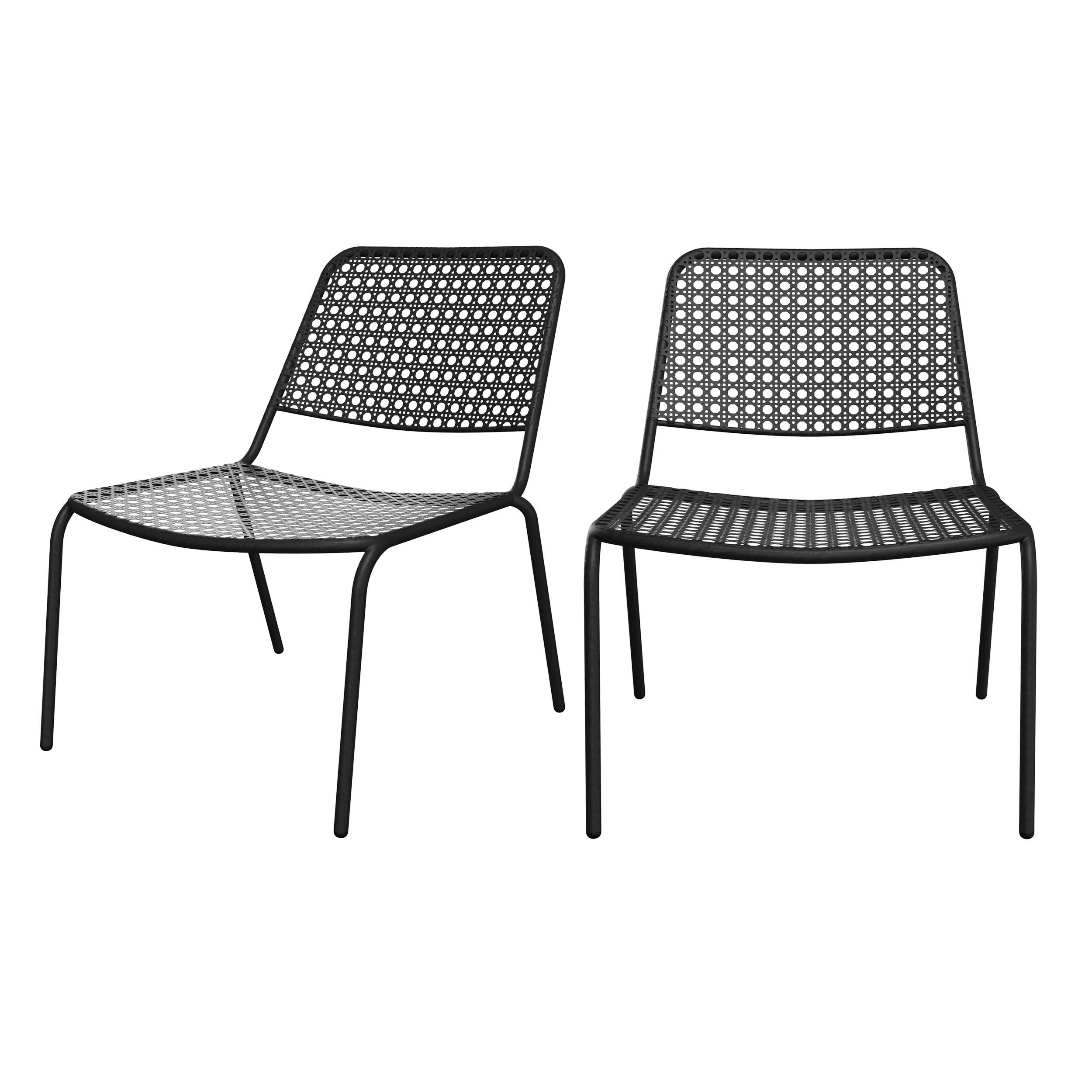 Fauteuil de jardin en métal gris mat (lot de 2)