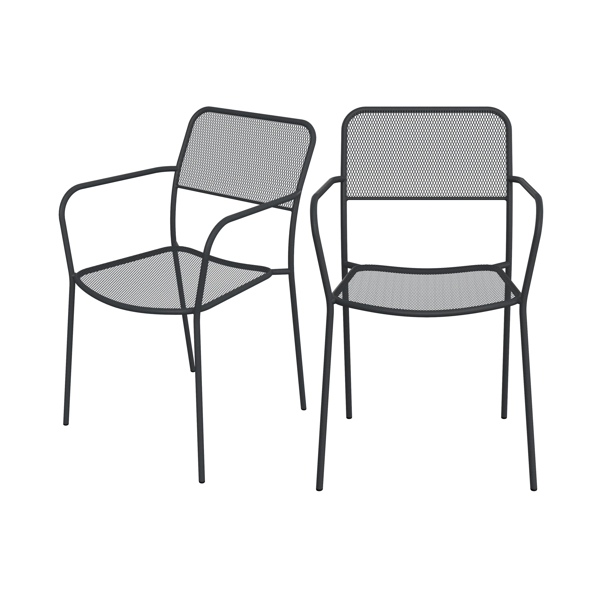 Chaise de jardin en métal gris mat (lot de 2)