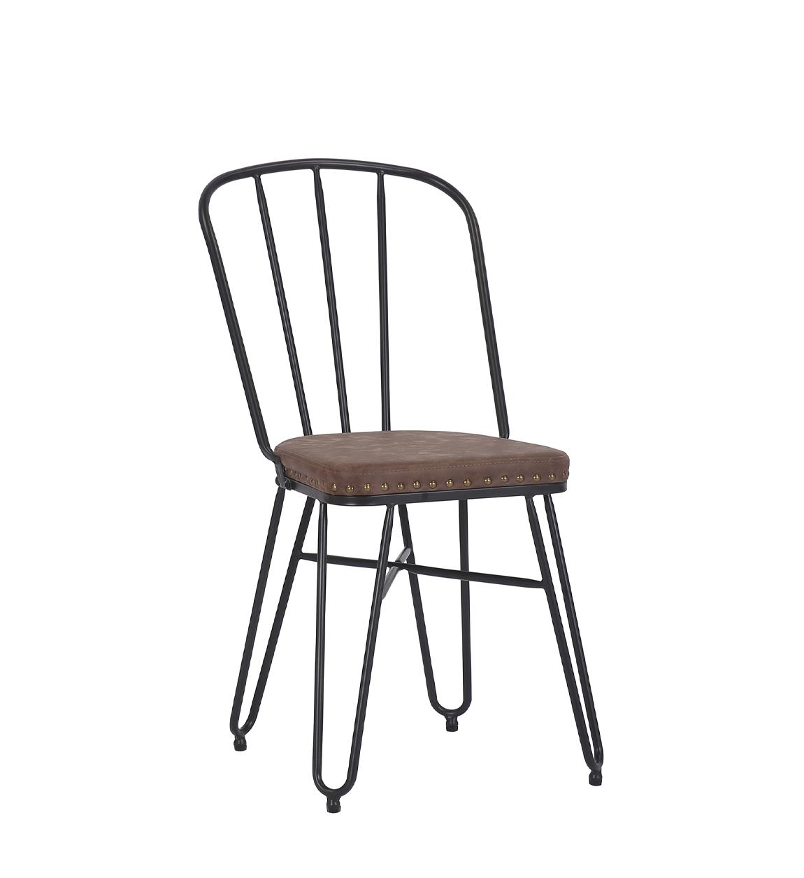 Lot de 2 chaises en simili cuir marron et métal noir