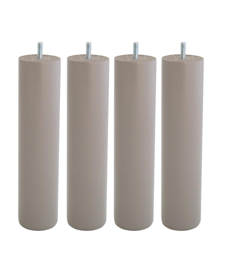 Lot de 4 pieds de lit cylindre H25cm finiton Taupe