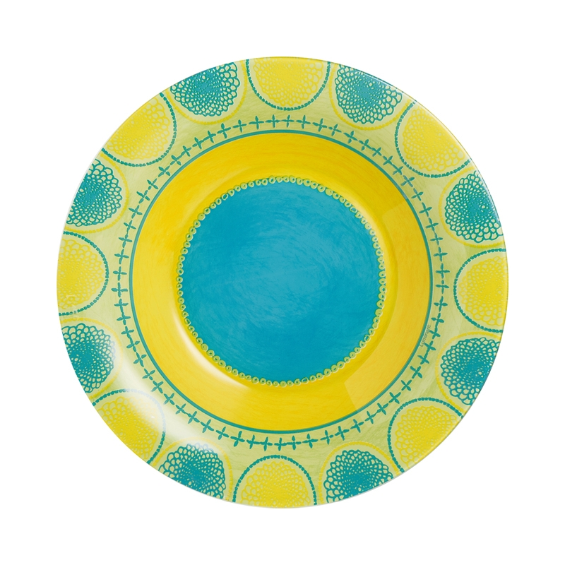 Assiette creuse turquoise D21,5cm