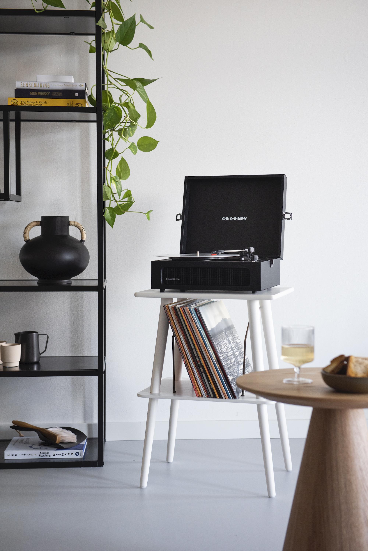 Table en placage blanc avec rangement pour disques vinyle