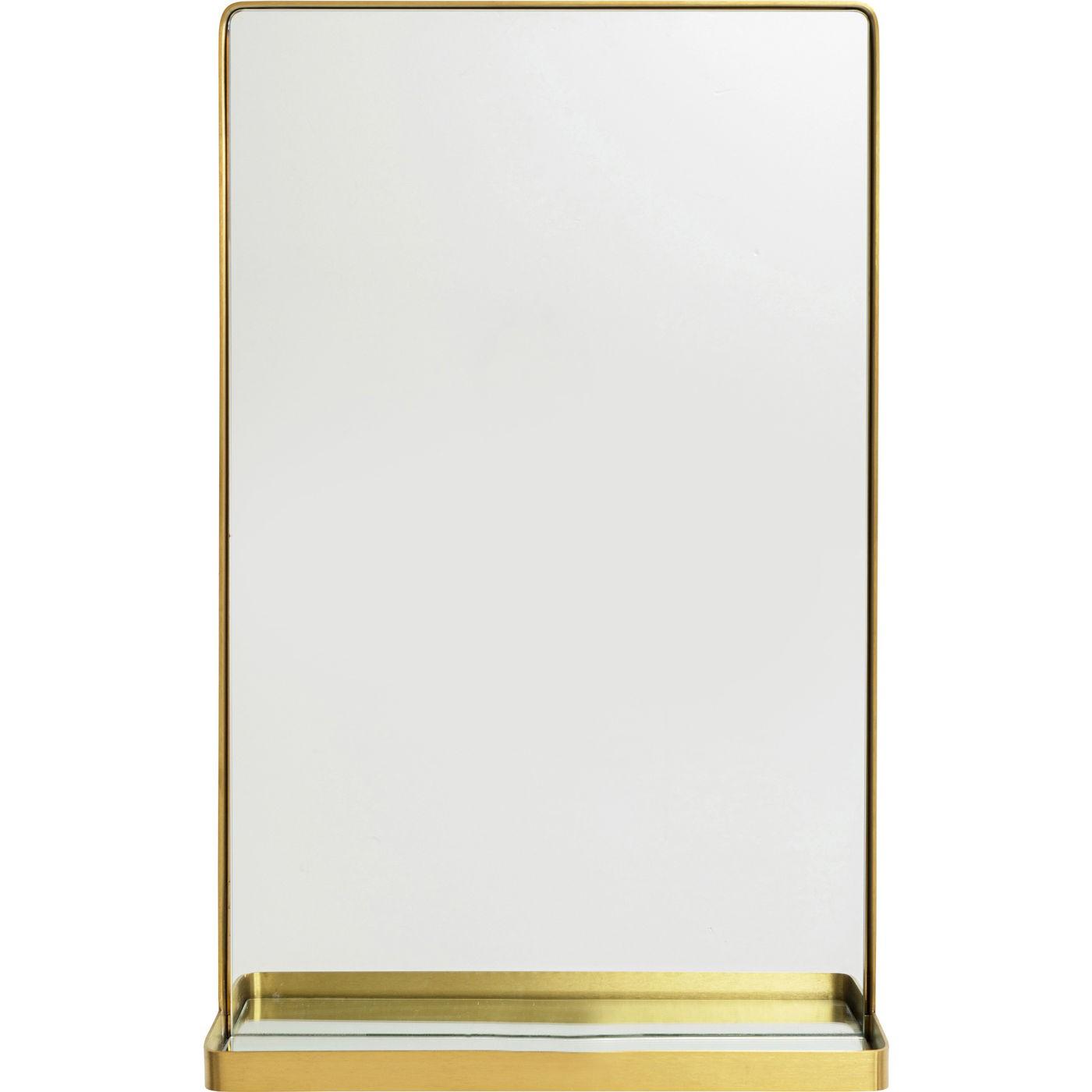 Miroir avec tablette bords arrondis en métal doré 80x50