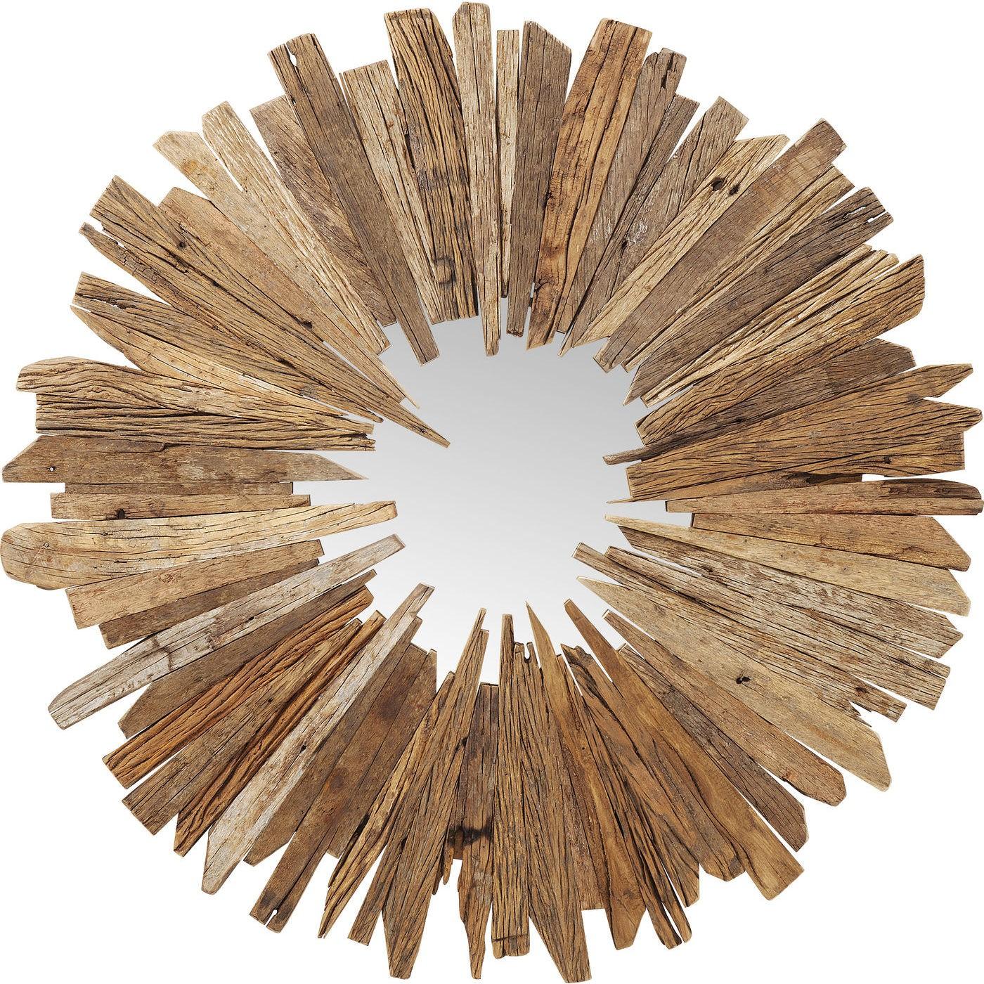 Miroir rond en bois recyclé D120
