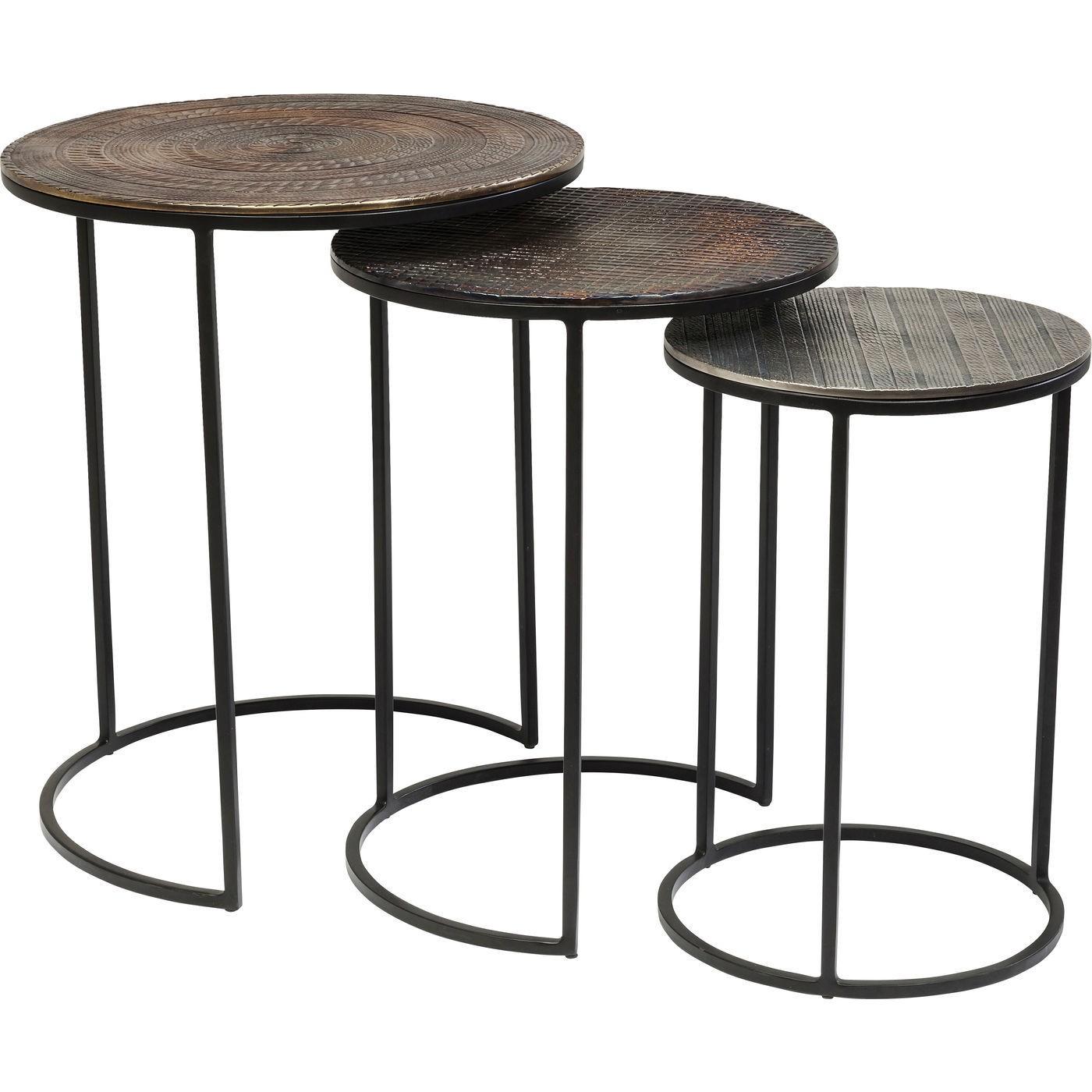 3 tables d'appoint en acier et aluminium
