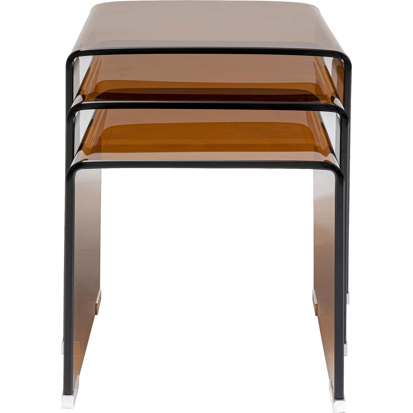3 tables d'appoint en verre coloré marron
