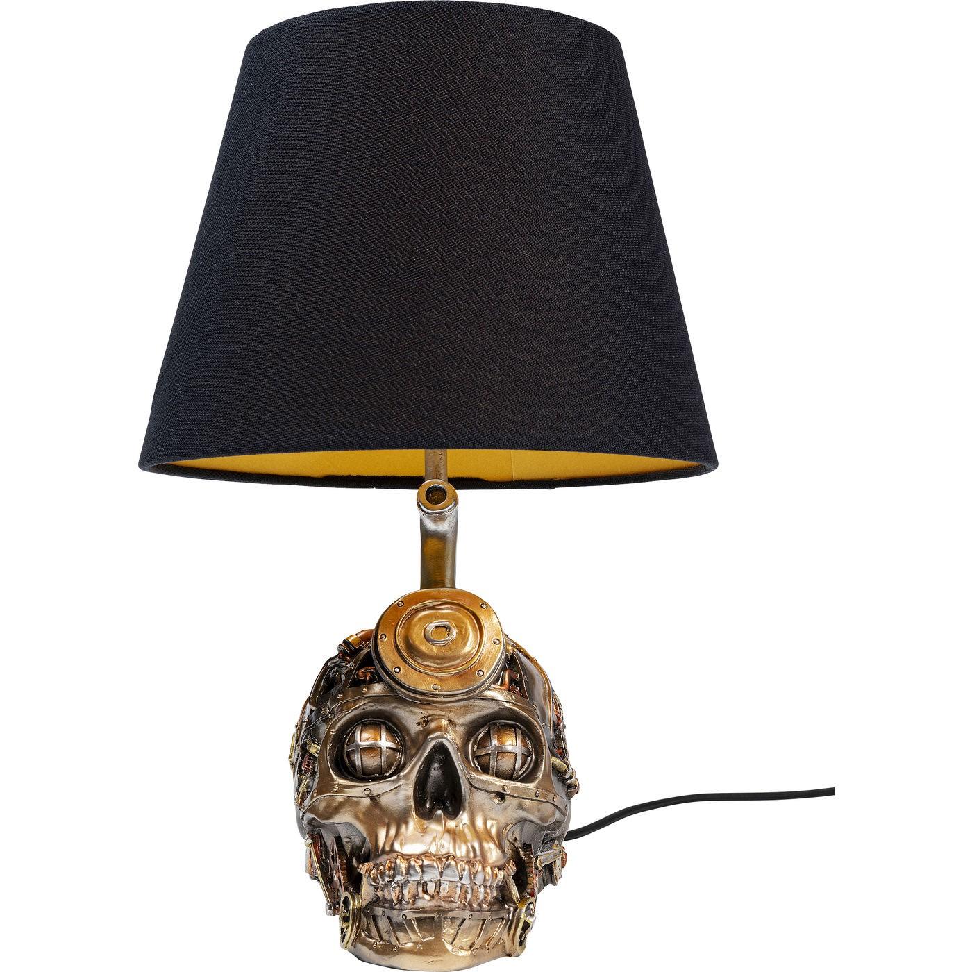 Lampe tête de mort steampunk en polyrésine et abat-jour noir