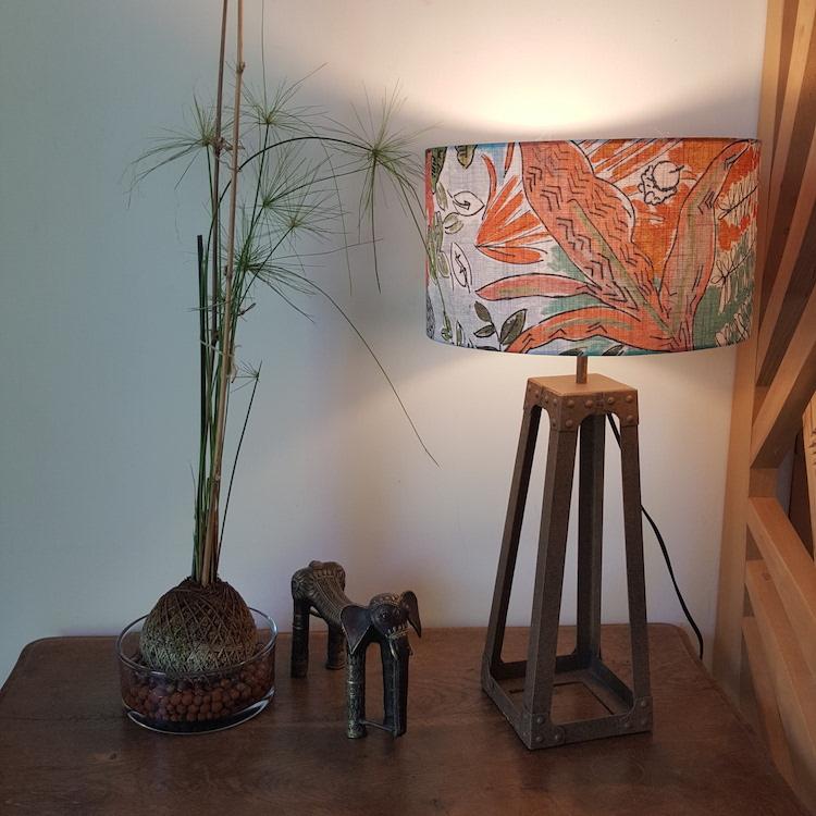 Abat-jour cylindrique à poser, tissu jungle Lalie Design, Ø 35cm