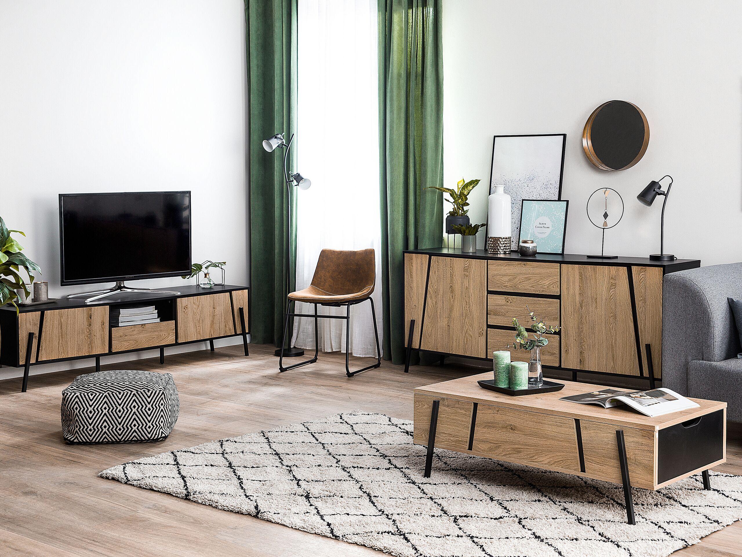 Table basse en bois clair et noir