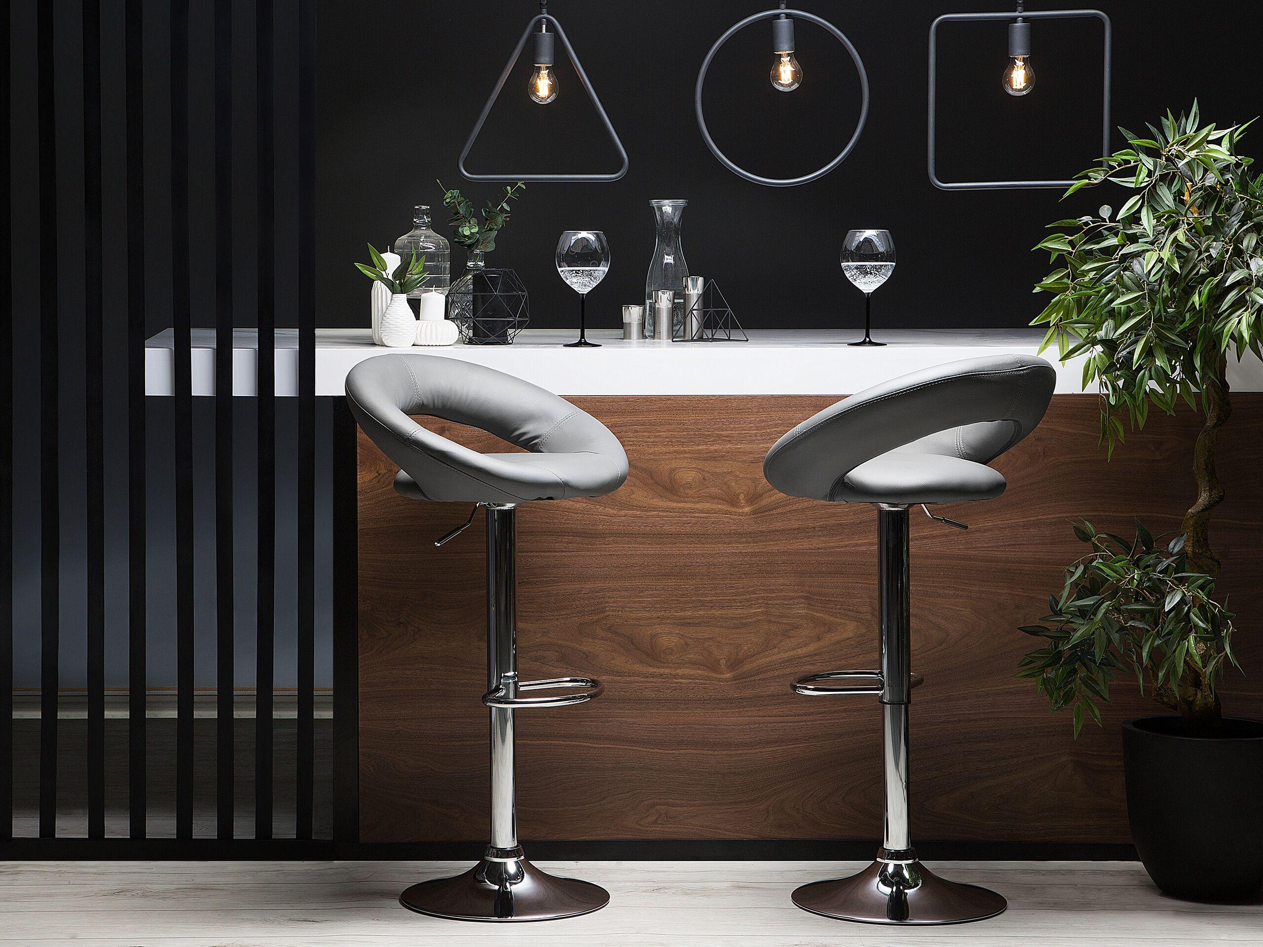 Lot de 2 chaises de bar en simili-cuir gris