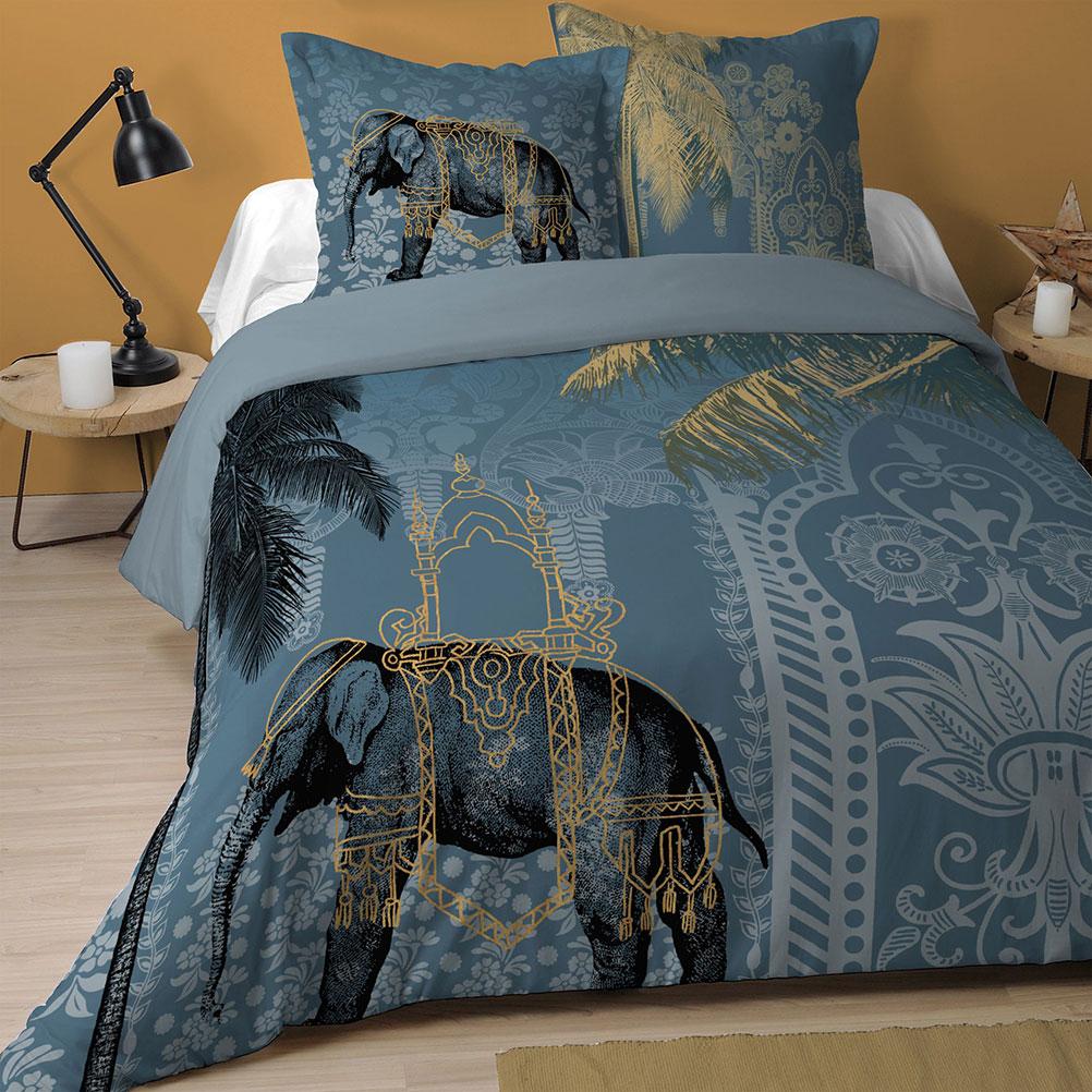 Parure de lit grise en coton 240x260cm