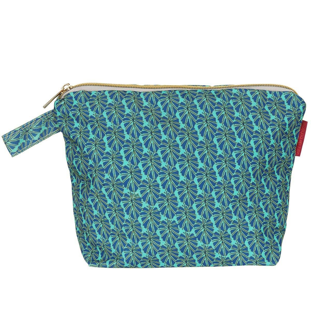 Pochette en toile outdoor imprimé graphique turquoise