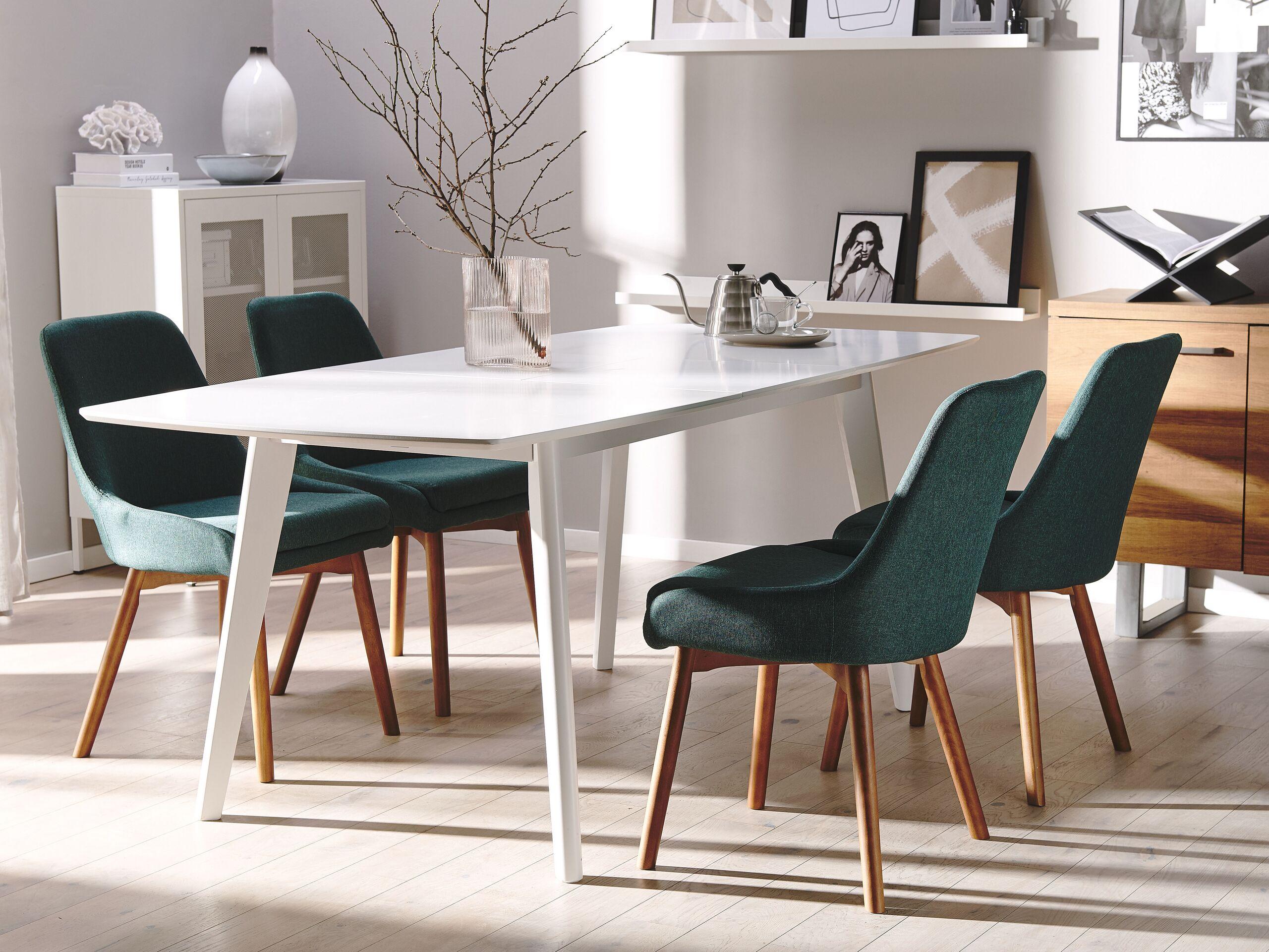Lot de 2 chaises de salle à manger en tissu vert foncé