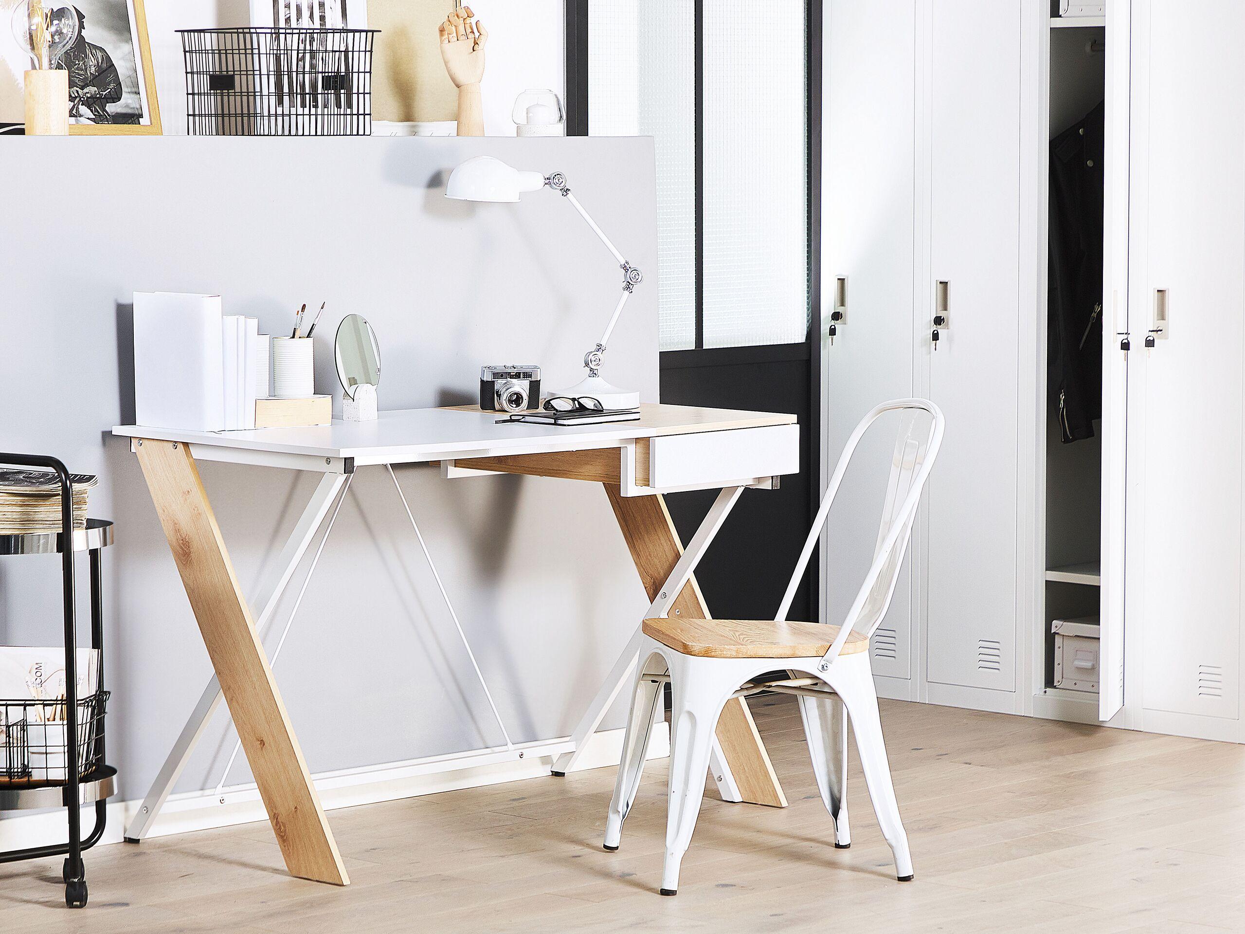Bureau effet bois clair et blanc avec tiroir