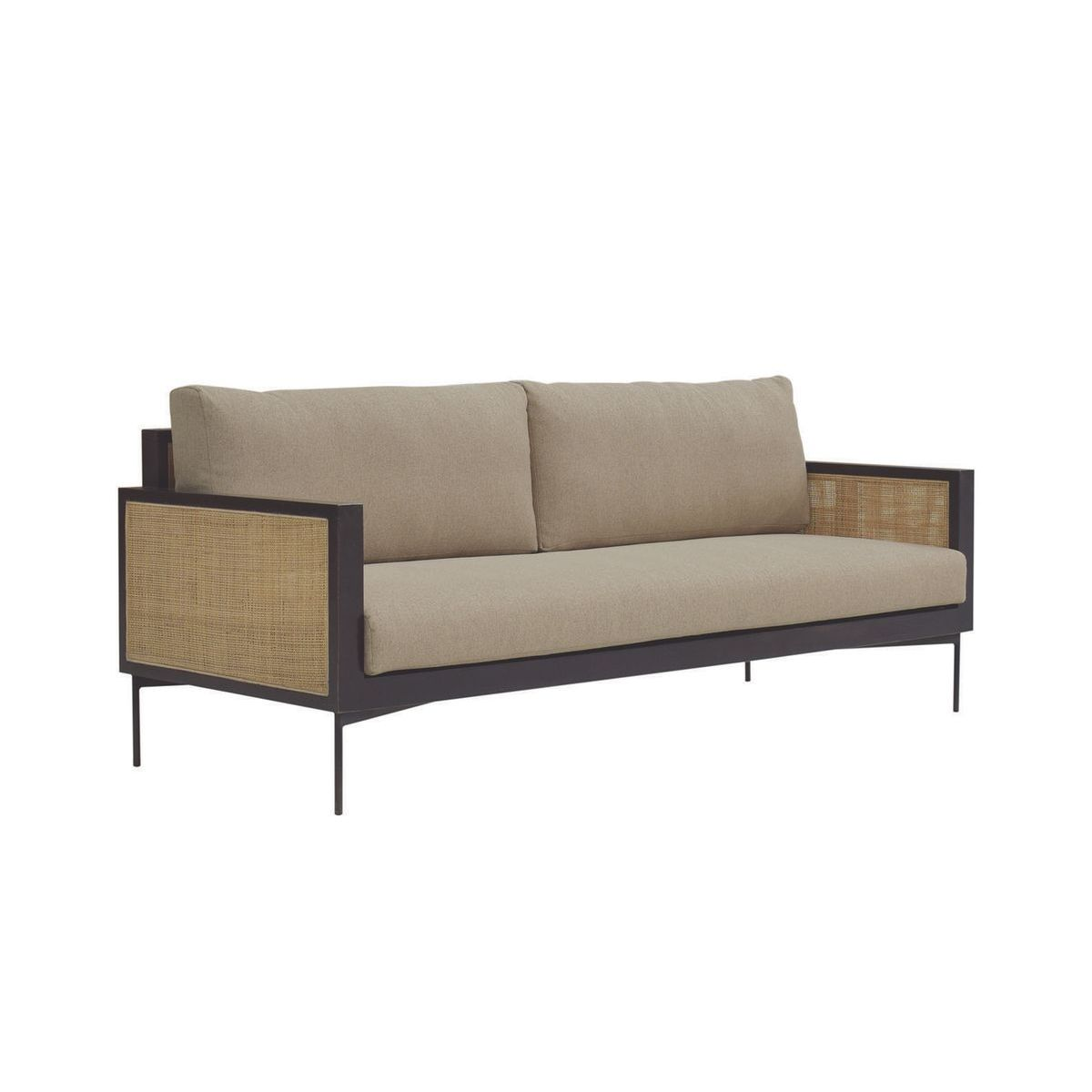 Canapé 3 places en tissu taupe structure en rotin et bois de manguier