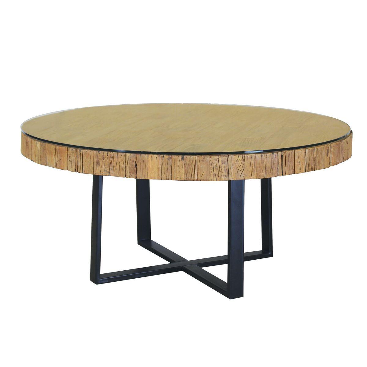 Table ronde en teck et verre 160cm